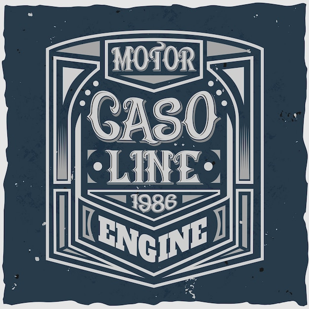 Vintage motor label with lettering composition