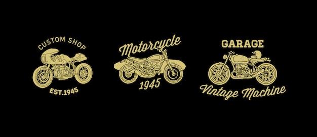 Урожай мотоцикл значок логотип набор