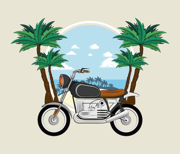 Vintage motorcycle on beach