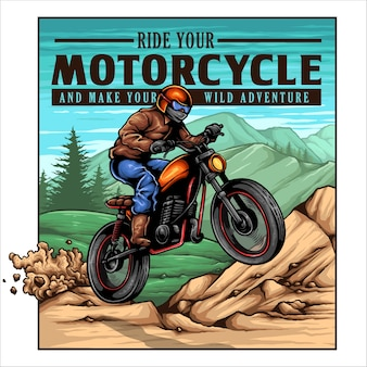 Vintage motorcycle biker jump on the mountain