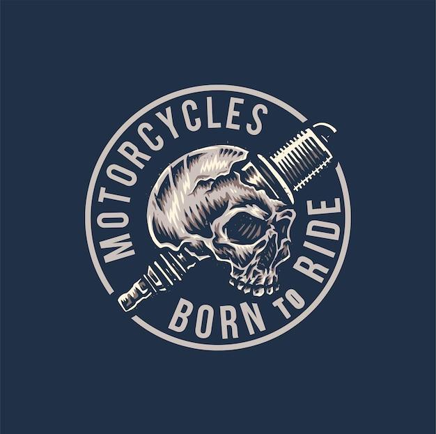 Винтажный мотоцикл, рожденный для езды, рисованной