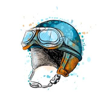 Винтажный мотоцикл классический шлем с очками из всплеск акварели, рисованный эскиз. иллюстрация красок