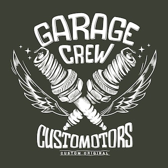 Vintage motorcycle club garage spark plug print .