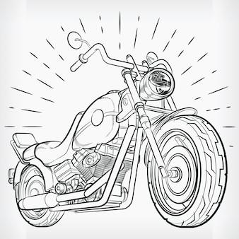 Vintage motorcycle doodle chopper hand drawing sketch Premium Vector