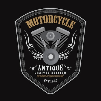 Vintage motorcycle engine logo shield emblem