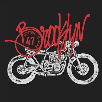 Винтажный мотоцикл рисованной иллюстрации