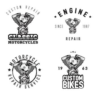 Vintage motorcycle repair logos, motorbike service
