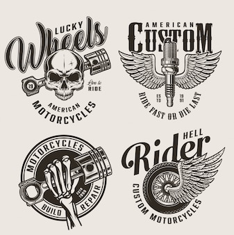 Vintage motorcycle repair service emblems