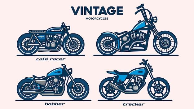 빈티지 오토바이, 라인 아트 스타일 로고, 평면 그림 벡터