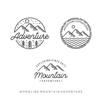 Дизайн логотипа монолинии старинных горных приключений
