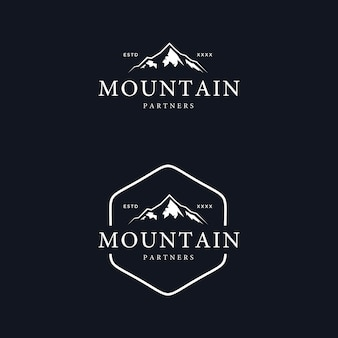 Vintage mountain badge logo design vector illustration