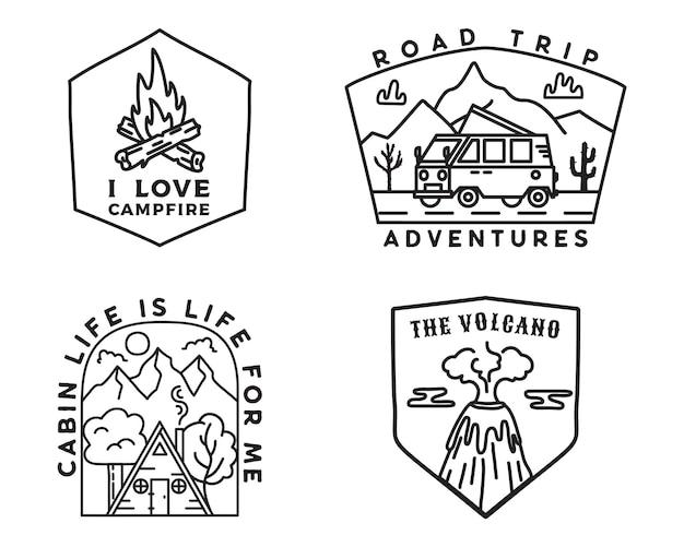 Набор логотипов старинных горных лагерей, наклейки приключения. набор рисованной эмблем. автопутешествие, туристическая экспедиция, этикетки у костра. конструкции для пеших прогулок на открытом воздухе. коллекция линейных логотипов. фондовый вектор.