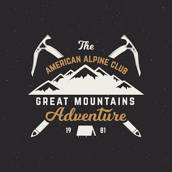 Vintage mountain expedition logo. outdoor adventure badge with climbing symbols and typography design isolated