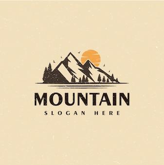Vintage mountain hiking landscape logo design