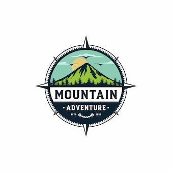 Vintage mountain logo design illustration