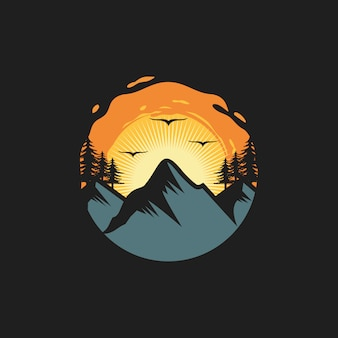 Vintage mountain logo design illustration