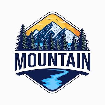 Vintage mountain logo design