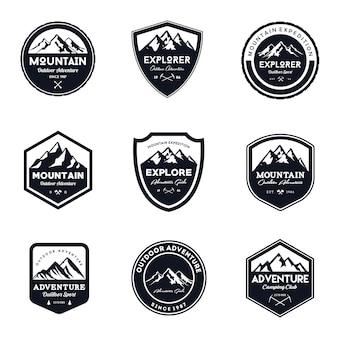Vintage Mountain & Outdoor Badges Set