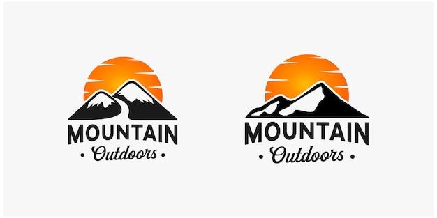 Vintage mountain outdoors logo template inspiration premium vector 2