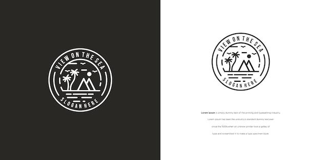 Vintage mountain scenery and waves retro mountain stamp logo