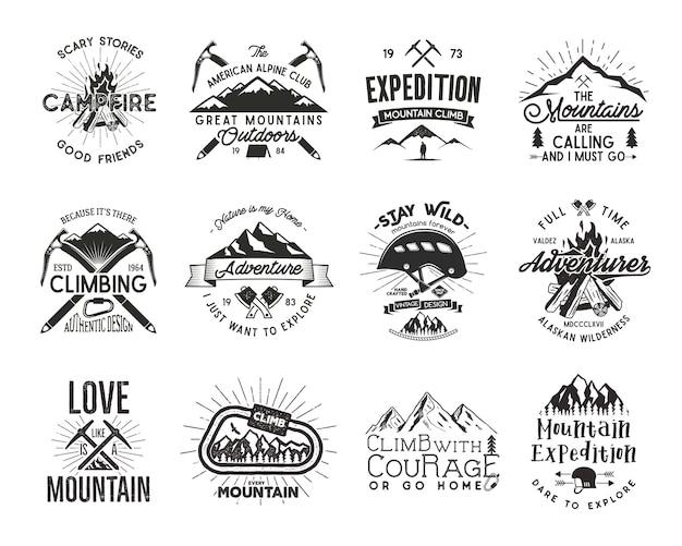 빈티지 등산 배지입니다. 등반 로고, 빈티지 벡터 엠블럼. 등반 장비 - 헬멧, 카라비너, 모닥불. 레트로 티셔츠 디자인입니다. 오래 된 스타일 그림입니다. 활자 효과. 풀세트.