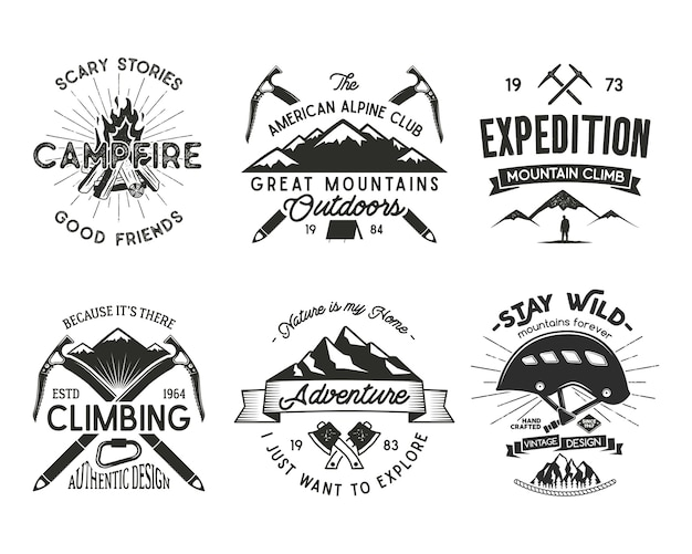 ヴィンテージ登山バッジセット。クライミングロゴ、ヴィンテージエンブレム。
