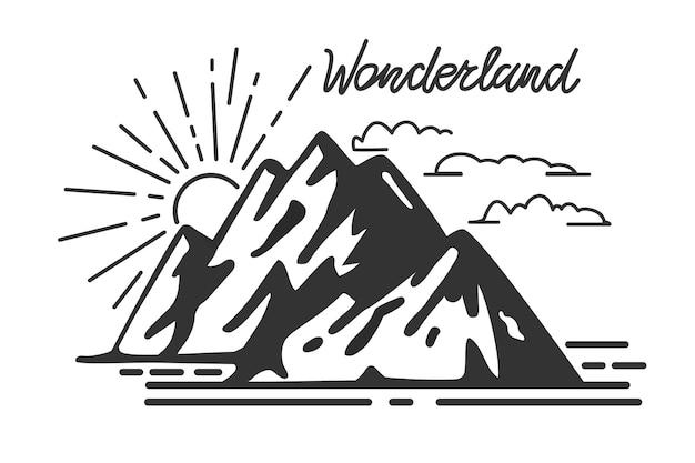 ヴィンテージ山とレトロなレタリング不思議の国ベクトルイラストタイポグラフィアートワーク