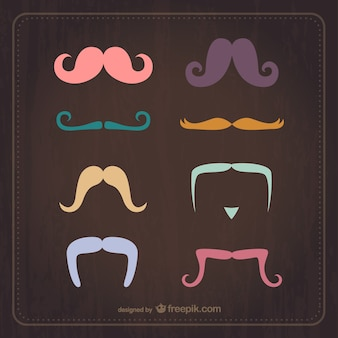 Vintage moustaches in different colors