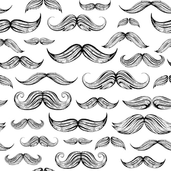 Vintage moustaches seamless hand drawn pattern. retro classic french, british face style texture background. line sketch, hipster element.