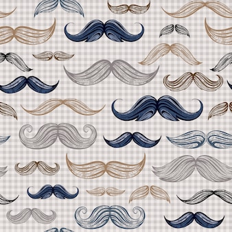 Vintage moustaches seamless hand drawn pattern on scotland plaid background.