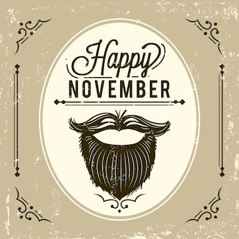 Vintage movember background with beard