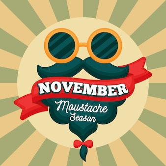 Vintage movember moustache season background