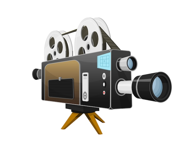 Vintage movie camera, entertainment and recreation. retro cinema.