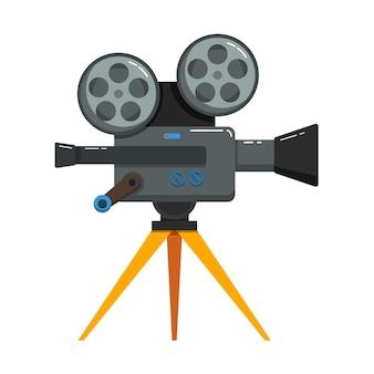 Винтажная кинокамера в плоском дизайне