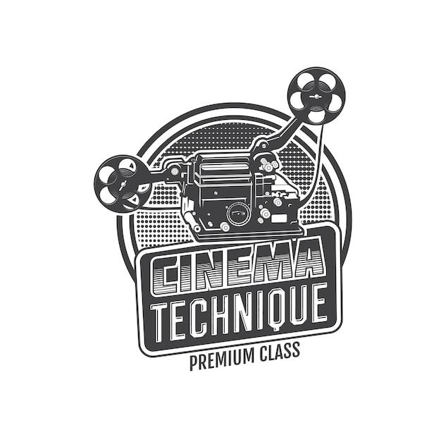 빈티지 영화 카메라는 필름 릴과 스트립이 있는 복고풍 영화나 비디오 프로젝터의 벡터 아이콘입니다. 영화 축제, 촬영 및 엔터테인먼트의 오래된 영화관 장비 흑백 표시