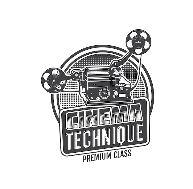 Vintage movie camera isolated vector icon of retro cinema or video projector with film reel and strip. old movie theater equipment monochrome sign of cinema festival, cinematography and entertainment