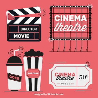 Vintage movie elements in three colors