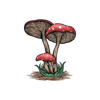잎 벡터 일러스트와 함께 빈티지 버섯
