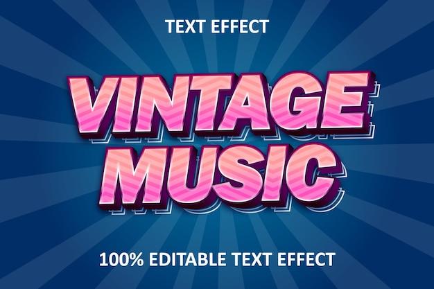 Винтаж музыка редактируемый текст эффект розовый красный ретро