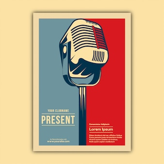 Vintage music event poster template
