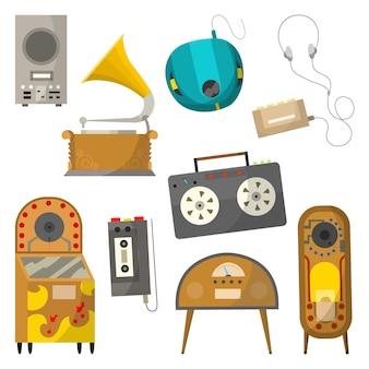 ヴィンテージ音楽オブジェクトセット。レトロなオーディオジュークボックスラジオとプレーヤー。有線ヘッドホン付きカセットボイスレコーダーとカセットミュージックプレーヤー。ベクトルイラストデザインテンプレート。