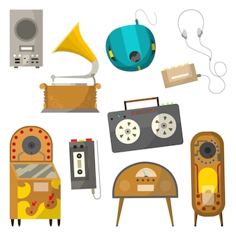 Vintage music objects set. retro audio jukebox radio and player. cassette voice recorder and cassette music player with wired headphones. vector illustration design template.