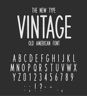Винтаж узкий тип современных букв дизайн старый американский шрифт белые ретро буквы и цифры на