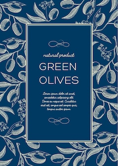 Vintage natural blue poster with text in frame and green olives branches in sketch style
