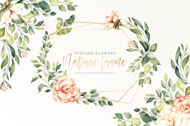 Vintage nature background with golden frame