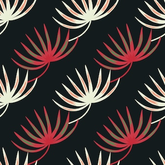 Vintage nature seamless pattern with pink and white colored botanic leaf shapes
