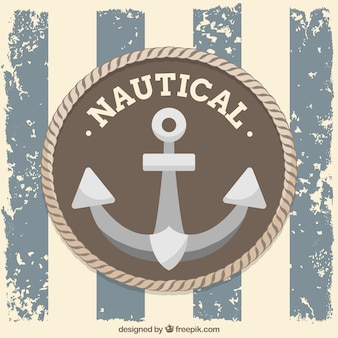 Vintage nautical background with anchor