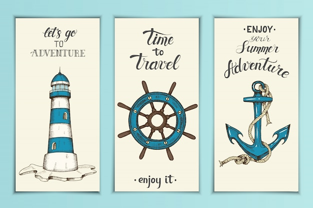 Vintage nautical banners with hand drawn vector anchor,