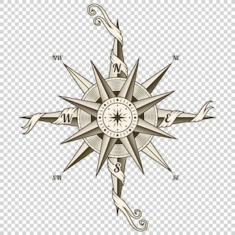 Vintage nautical compass. old design element for marine theme and heraldry on transparent background. hand drawn wind rose.