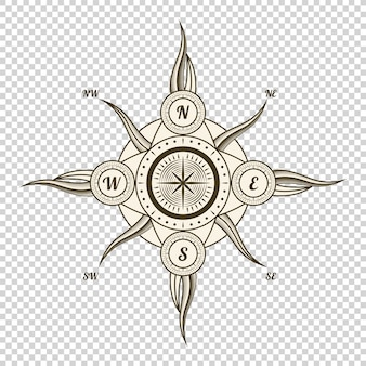 Vintage nautical compass. old design element for marine theme and heraldry on transparent background. hand drawn wind rose